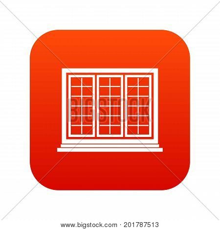 Wooden tricuspid window icon digital red for any design isolated on white vector illustration