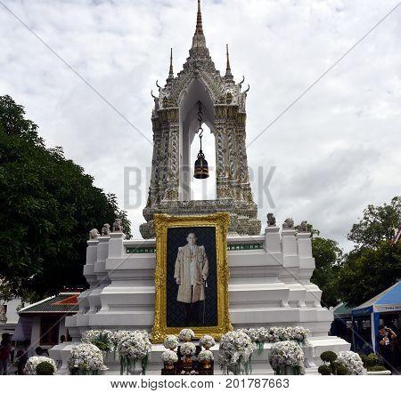Bangkok Thailand - Aug 4 2017. Portrait of Thai King Bhumibol Adulyadej in Wat Pho temple. Thailand's King Bhumibol Adulyadej has died aged 88 ending seven decades on the throne.