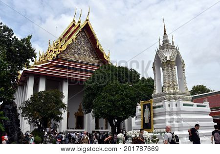 Bangkok Thailand - Aug 4 2017. Wat Pho temple is the landmark of Bangkok Thailand and Asia. One of the oldest largest and most revered temple complexes in Bangkok