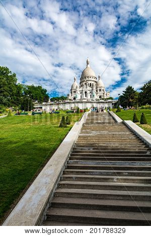 Paris France - August 14 2016: The Basilica of the Sacred Heart of Paris commonly known as Sacre-Coeur Basilica is a Roman Catholic church and minor basilica dedicated to the Sacred Heart of Jesus in Paris