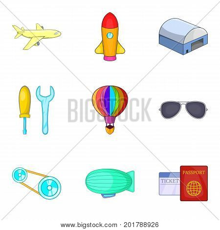 Dirigible icons set. Cartoon set of 9 dirigible vector icons for web isolated on white background