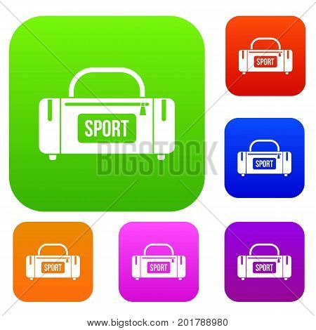 Large sports bag set icon in different colors isolated vector illustration. Premium collection