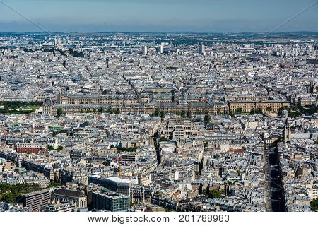 Skyline of Paris from the top of the Montparnasse tower. We can see the Tuileries garden the Madeleine church the basilica of the Secred Heart ...
