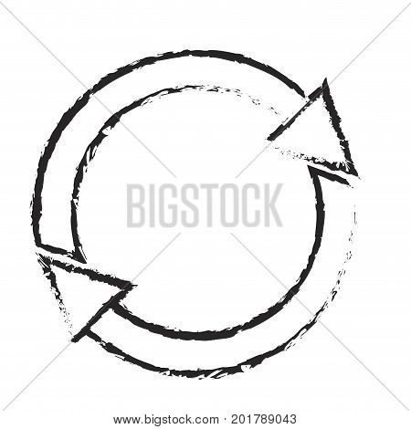 monochrome blurred silhouette of refresh or reload icon vector illustration