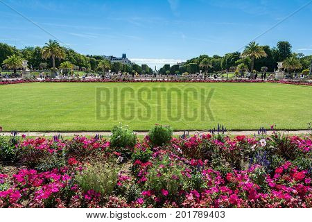 Paris France - August 14 2016: The Luxembourg garden covers 23 hectares and is known for the Luxembourg palace.