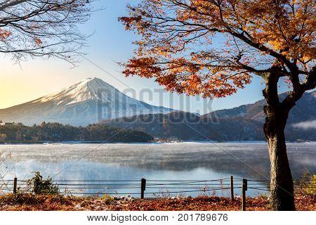 Morning Sunrise Mt. Fuji in autumn at Kawaguchiko or lake Kawaguchi in Fujikawaguchiko Japan