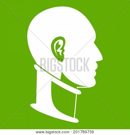 Cervical collar icon white isolated on green background. Vector illustration