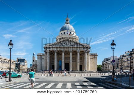 Paris France - August 14 2016: The Pantheon was originally built as a church. It now functions as a secular mausoleum containing the remains of distinguished French citizens.