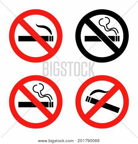 No smoking icons set. Flat design Vector Illustration