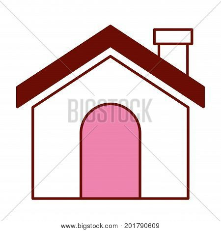 pink and scarlet red sections silhouette of house with chimney vector illustration
