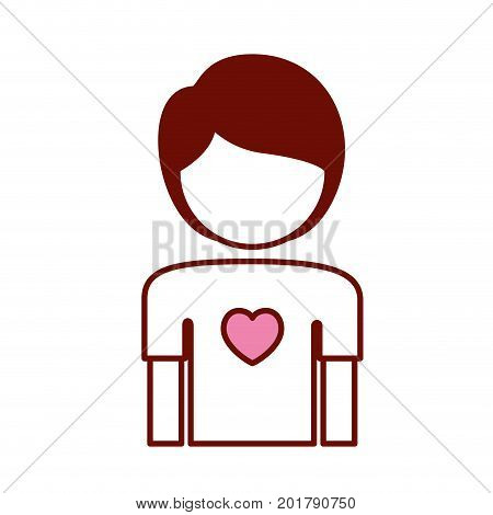 pink and scarlet red sections silhouette of faceless boy half body with heart in chest vector illustration