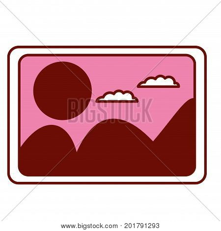 pink and scarlet red sections silhouette of picture with landscape with mountains and sun and clouds vector illustration