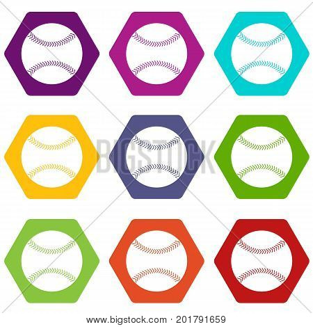 Baseball icon set many color hexahedron isolated on white vector illustration