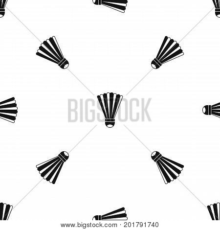 Shuttlecock pattern repeat seamless in black color for any design. Vector geometric illustration