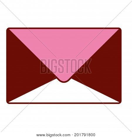pink and scarlet red sections silhouette of sealed envelope vector illustration