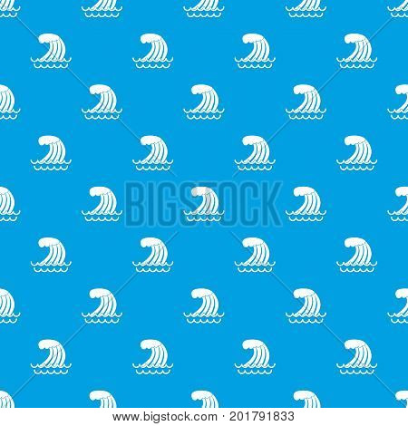 Tsunami wave pattern repeat seamless in blue color for any design. Vector geometric illustration