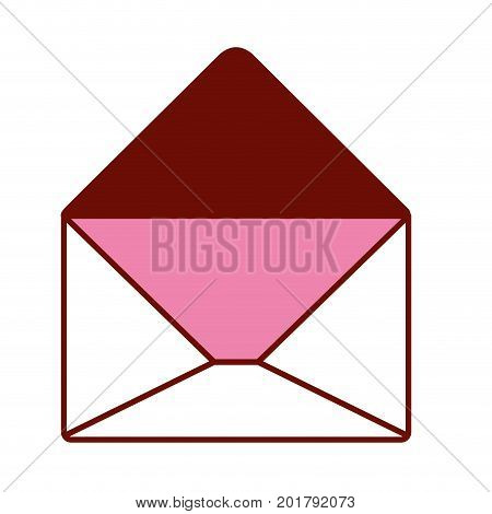 pink and scarlet red sections silhouette of opened envelope vector illustration
