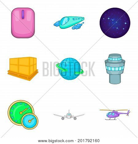 Stratosphere icons set. Cartoon set of 9 stratosphere vector icons for web isolated on white background