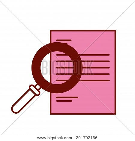 pink and scarlet red sections silhouette of magnifying glass search over document