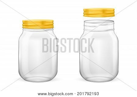 Vector realistic empty glass jar for canning and preserving set with golden lid - open and closed - closeup isolated on white background. Design template for advertise, branding, mockup. EPS10 illustration.