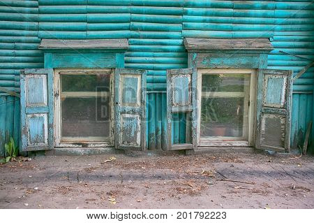 Old Wooden House In Siberian City, The Blue House