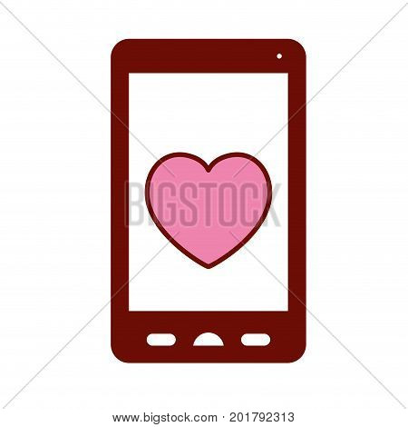 pink and scarlet red sections silhouette of smartphone with heart in screen vector illustration