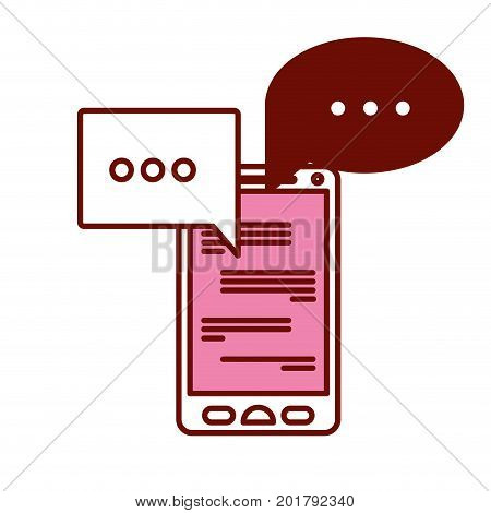 pink and scarlet red sections silhouette of smartphone with speech bubbles chat vector illustration