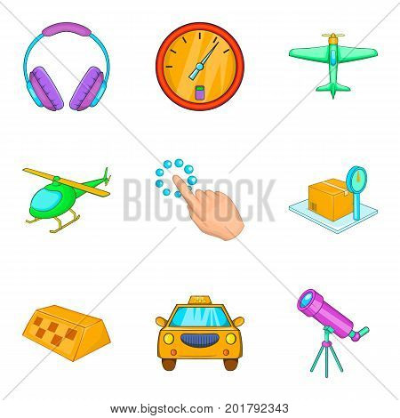 Helicopter icons set. Cartoon set of 9 helicopter vector icons for web isolated on white background
