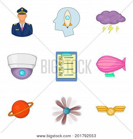 Route icons set. Cartoon set of 9 route vector icons for web isolated on white background