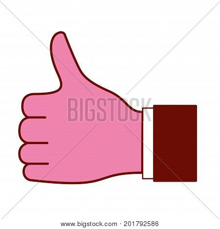 pink and scarlet red sections silhouette of left hand thumb up vector illustration