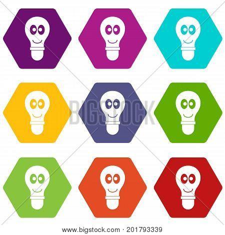 Smiling light bulb with eyes icon set many color hexahedron isolated on white vector illustration