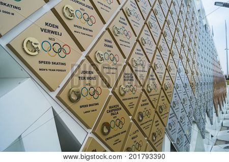 the wall of honor of the Olympic champions. Olympic Park Sochi Russia September 2014g..