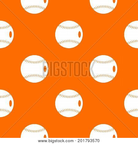 Baseball ball pattern repeat seamless in orange color for any design. Vector geometric illustration