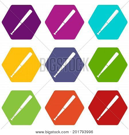 Black baseball bat icon set many color hexahedron isolated on white vector illustration