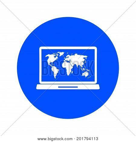 Laptop and world map illustration. World map geography symbol.  Flat design style.