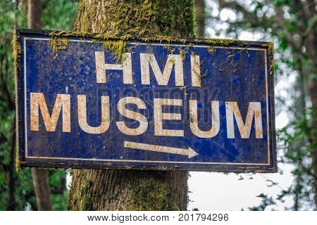 Himalayan mountain museum sign at Darjeeling, India.