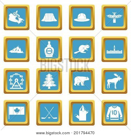 Canada travel icons set in azur color isolated vector illustration for web and any design