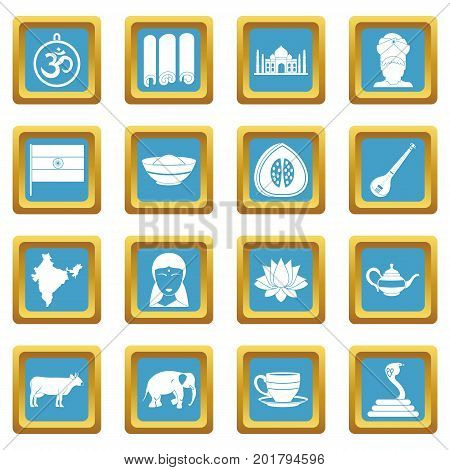 India travel icons set in azur color isolated vector illustration for web and any design