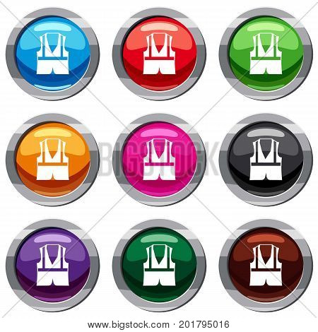 Vest set icon isolated on white. 9 icon collection vector illustration