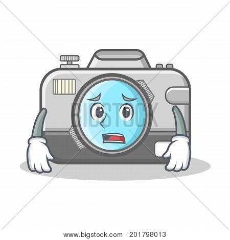 Afraid photo camera character cartoon vector illustration