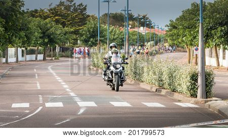 Security Motorcycle For A Road Bike Race