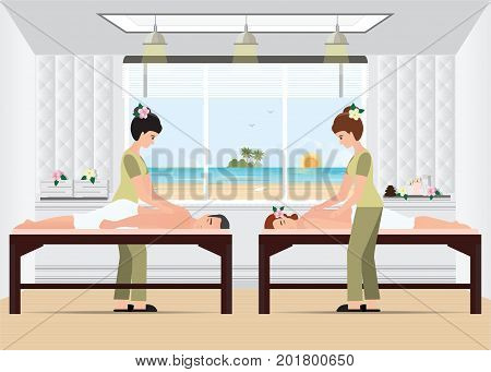 Couple enjoying full body massage treatment from masseur in a spa vector illustration.