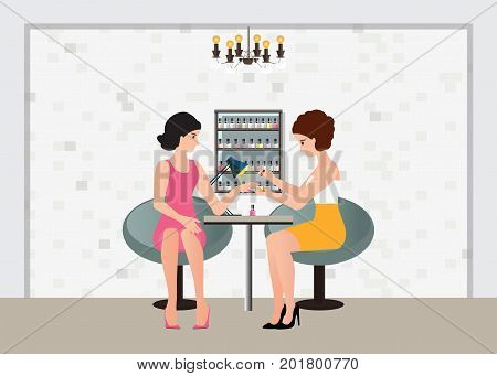Professional woman doing a manicure applying pink nail polish with nail polish at the spa and beauty salon Manicure service vector illustration.