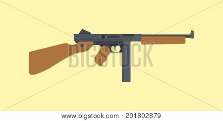 ordnance carbine usa america submachine gun ww2 world war 2 thompson tommy gun vector