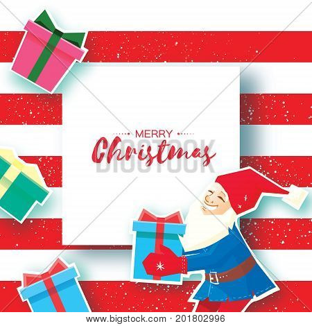 Christmas cartoon of Santa Claus holding a Gift box with bow. Paper Cut Merry Christmas Greeting card. Origami Happy New Year. Snowy forest. Elf. Space for text. Blue background. Vector illustration