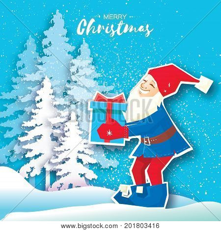 Christmas cartoon of Santa Claus holding a Gift box with bow. Paper Cut Merry Christmas Greeting card. Origami Winter season. Happy New Year. Snowy forest. Elf. Blue background. Vector illustration