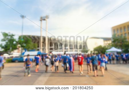 Abstract blurred photo of fan sport at stadium sport background concept