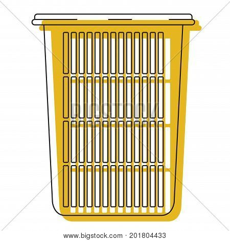yellow watercolor silhouette of tall laundry basket without handles vector illustration