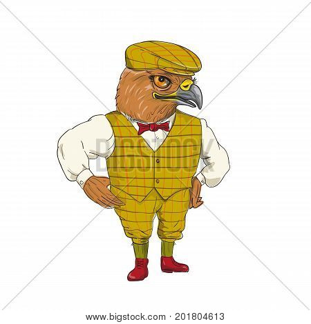 Drawing sketch style illustration of a Hawk English Outdoorsman wearing cheese cutter hat cap vest bow tie with hands on hips done in cartoon style.