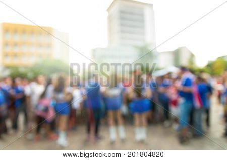 Abstract blurred photo of fan sport at stadiumbehide the scene of sport event sport background concept
